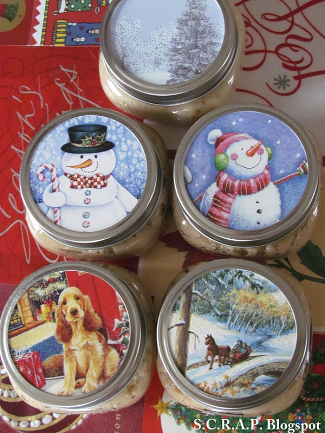 Use your Christmas cards to make decorative Mason jar toppers