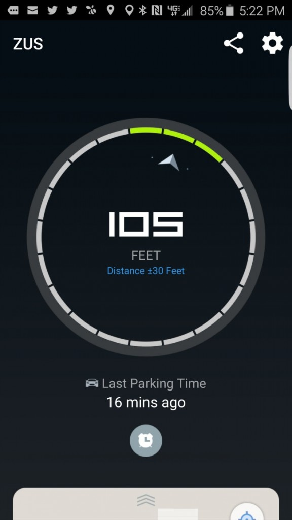 Screenshot of the GPS car locator on the ZUS