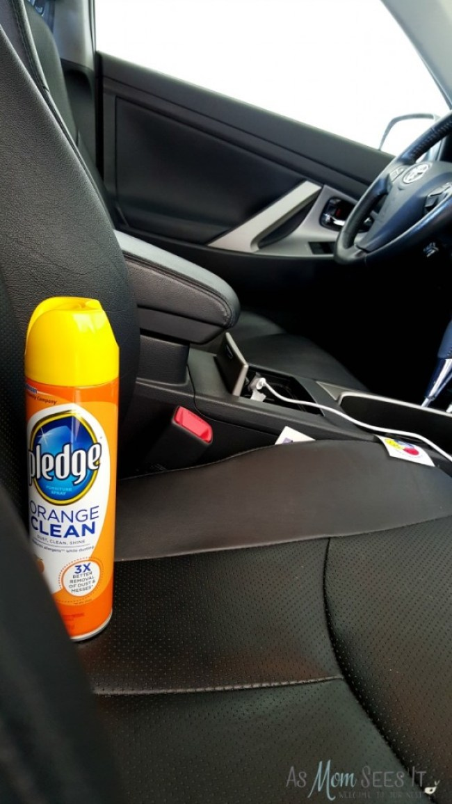 Pledge shines and protects the leather and other surfaces in my car