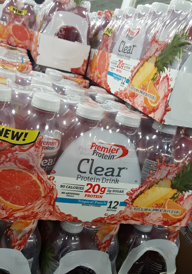 Stop at Sam's Club to pick up a pack or two of the new Premier Protein CLEAR in Tropical Fruit flavor
