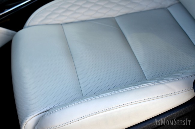 The diamond stitch leather seats on the 2017 Kia Cadenza made our long road trip comfortable