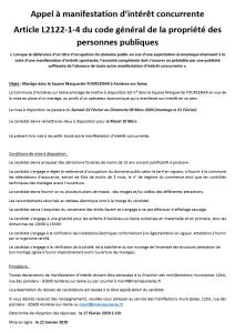 APPEL A MANIFESTATION D'INTÉRÊT CONCURRENTE DU 22 janvier 2020