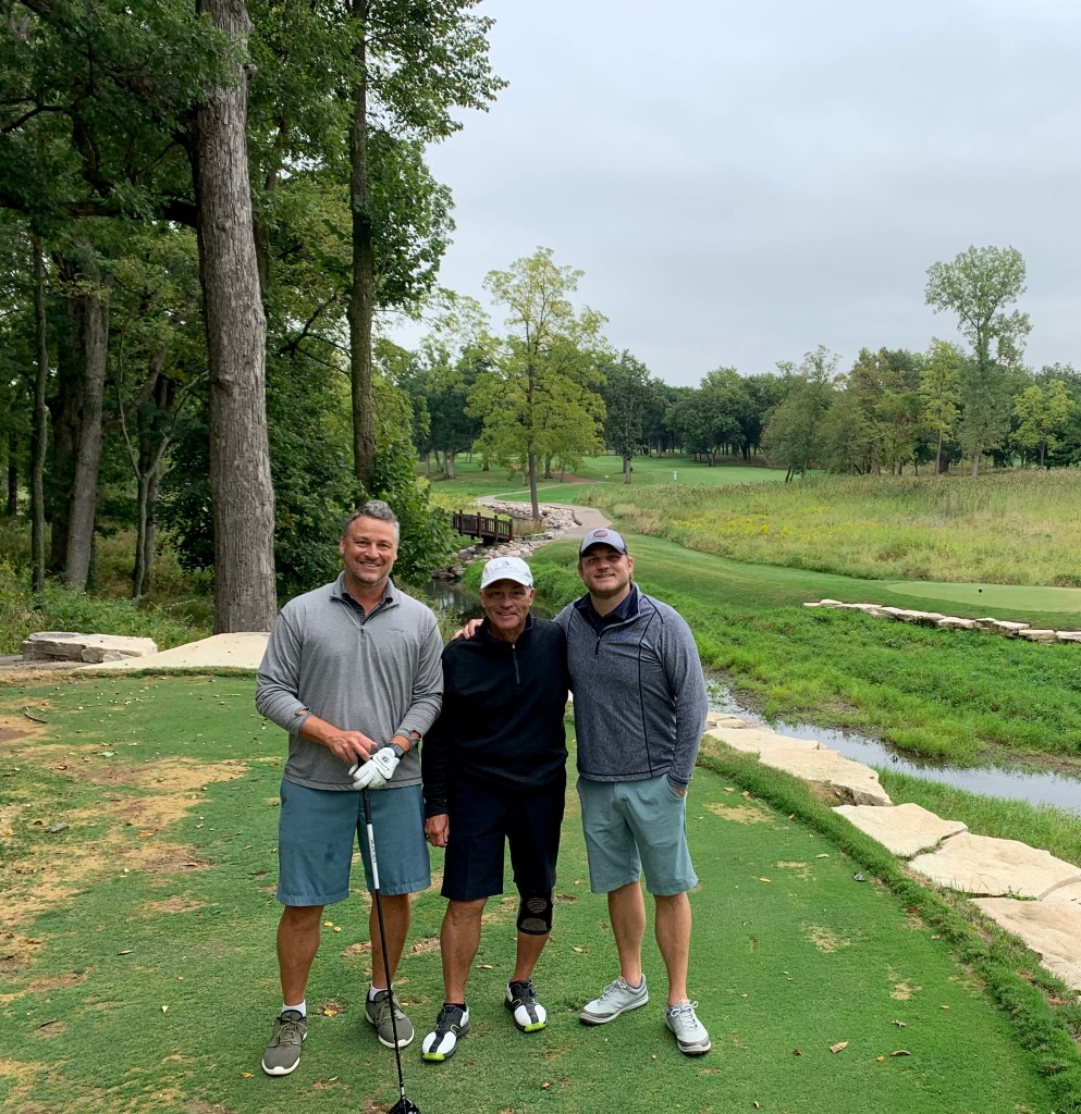 Ray Petrocelli with Nick and Mike Petrocelli golfing