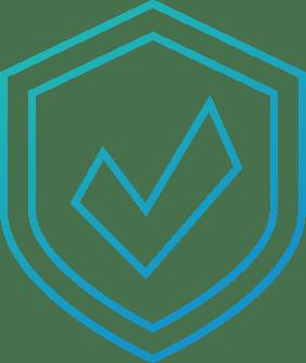 A checkmark on a shield