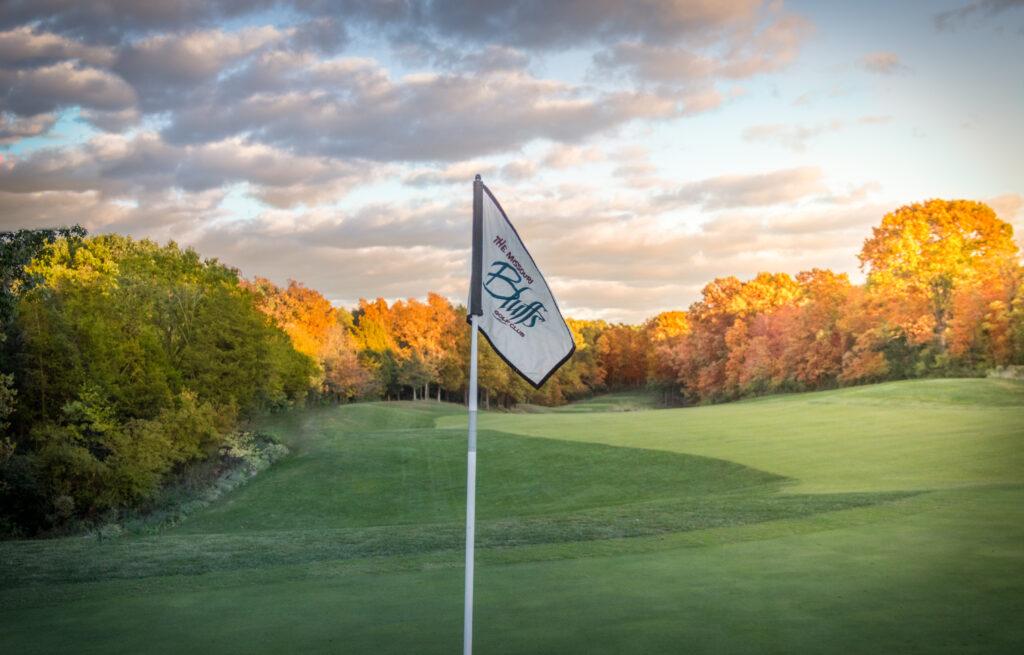flag waving over Missouri Bluffs golf course