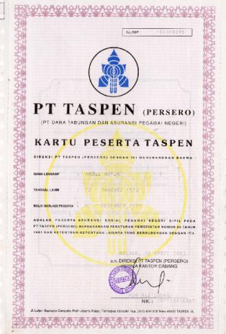 kartu peserta TASPEN