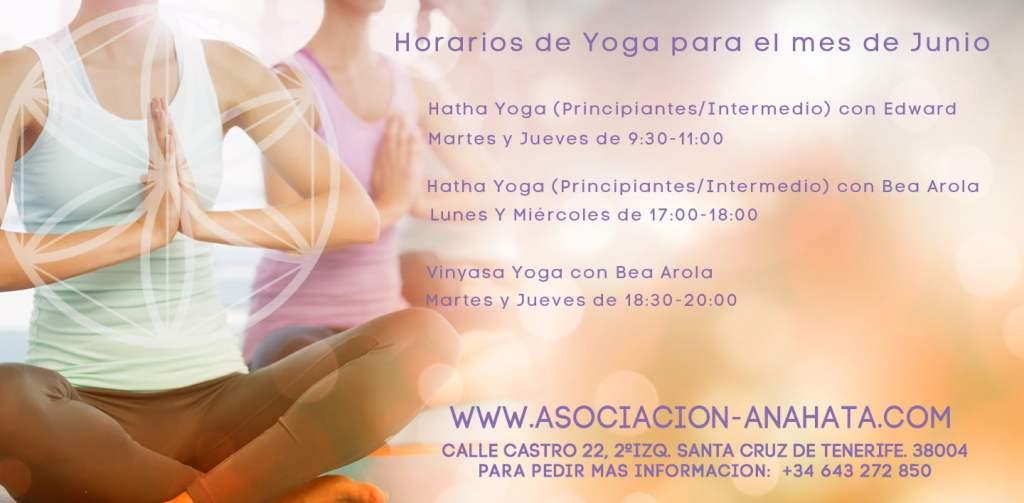 Horarios de Yoga para el mes de Junio