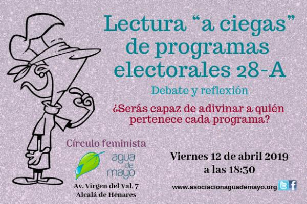"""Lectura """"a ciegas"""" de programas electorales: viernes 12, 18:30h"""