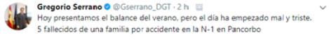 La DGT y Fomento sabían de la peligrosidad del tramo del accidente de Pancorbo y no tomaron medidas efectivas -