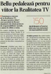 Cotidianul, 28 martie 2008, Bellu pedaleaza pentru viitor la Realitatea TV