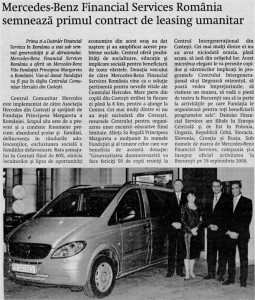 Curierul National, 23 septembrie 2008, Mercedes-Benz Financial Services Romania semneaza primul contract de leasing umanitar