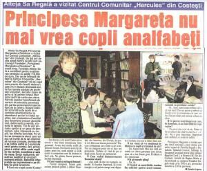 Pitesti - Societatea Argeseana, 21 februarie 2008, Principesa Margareta nu mai vrea copii analfabeti