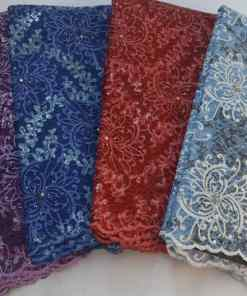 Intricate Design Stoned Sample Lace Fabric with Sequin Highlights 5 Yards/Lot
