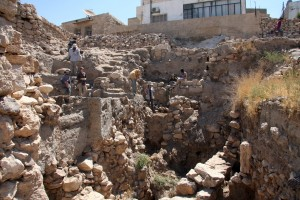 Madaba, recent excavations with remains of fortification wall. Photo courtesy of Thomas Petter.