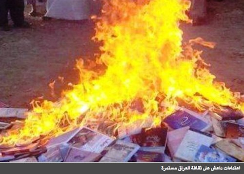 Mosul library books burning.