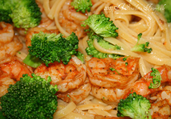 Lemon Butter Pasta With Steamed Shrimp And Broccoli A