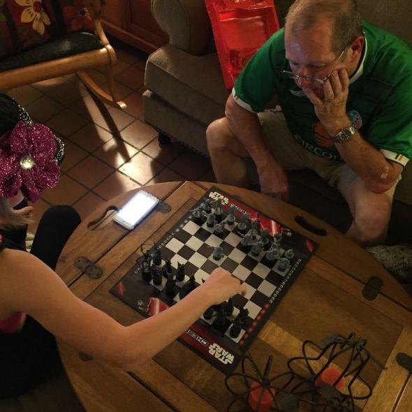 princess and grandpa playing chess