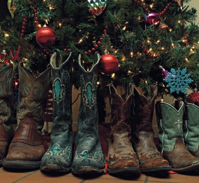 boots by the christmas tree