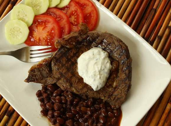 Spice Rubbed Grilled Ribeyes with Creamy Cilantro Lime Sauce