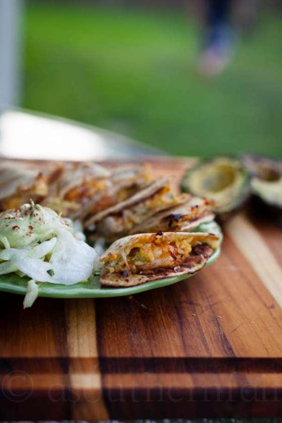 avocado shrimp quesadilla