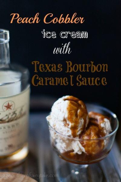 peach cobbler ice cream with bourbon caramel sauce