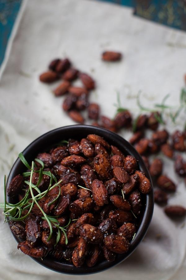 honey chipotle glazed spiced almonds