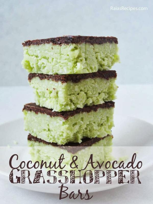 Coconut and Avocado Grasshopper Bars | Raia's Recipes