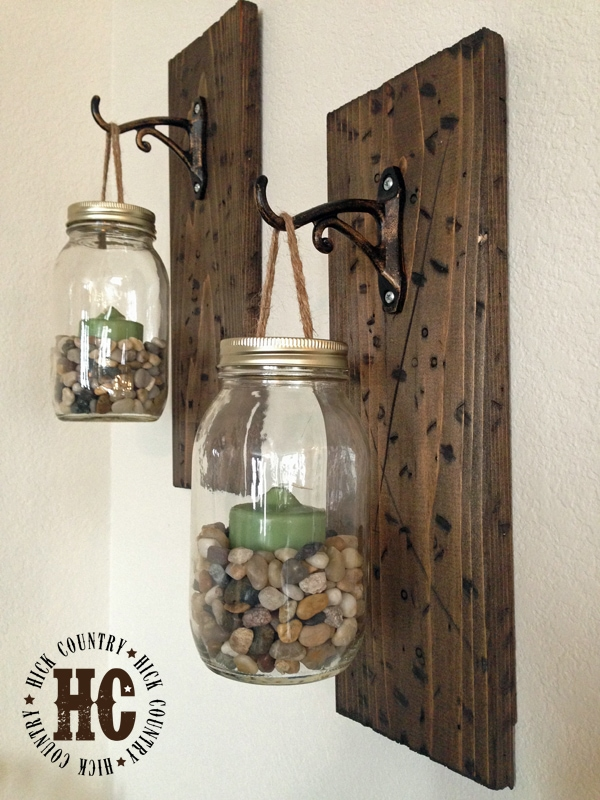 Rustic DIY Mason Jar Lanterns Sconces