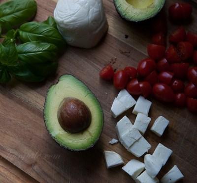 Avocado and Caprese Fixings for stuffed Avocados