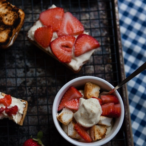 Amaretto Brown Sugar Whipped Cream topped grilled strawberry shortcake bites