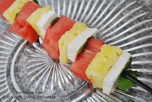 Watermelon, Feta, Pineapple, Mint Skewers from The It Mom