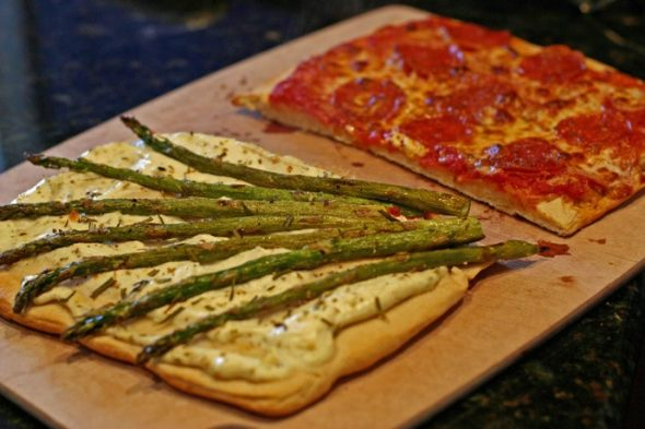 Roasted Asparagus Pizza and Pepperoni Pizza and Honey Wheat pizza Dough Recipes from Nesting With Style