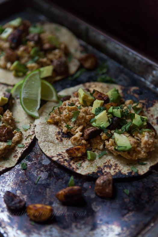 Roasted Potato, Chorizo, Egg, and Avocado breakfast tacos