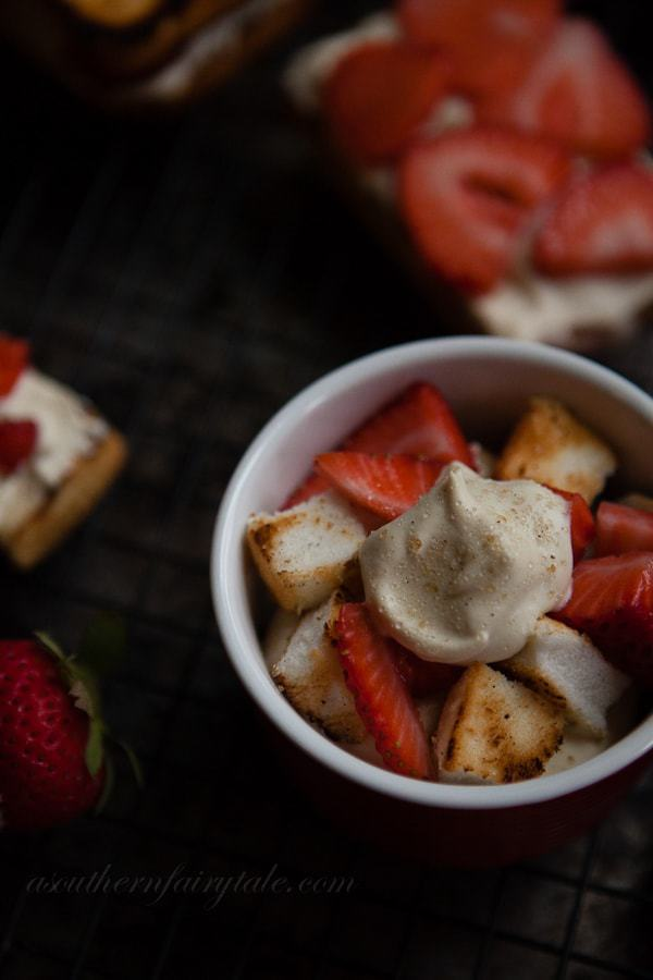 Brown Sugar, Amaretto Whipped Cream topped Grilled Strawberry Shortcakes