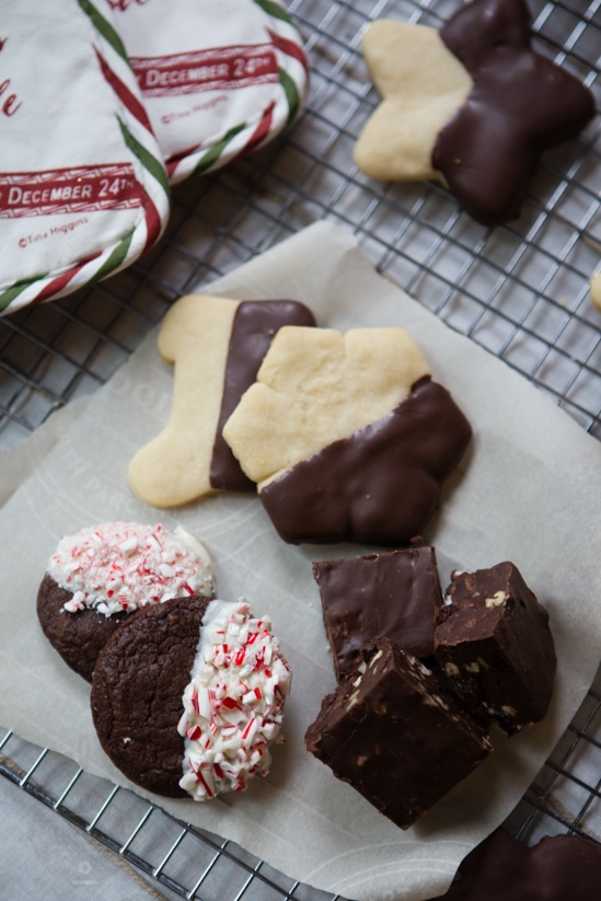 shortbread cookies, fudge, and chocolate cookies for the food blogger cookie swap
