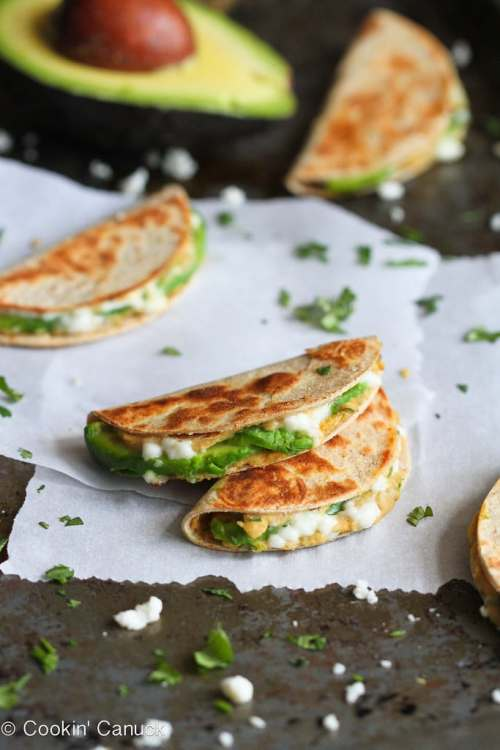 hummus and avocado quesadillas from cookin' canuck