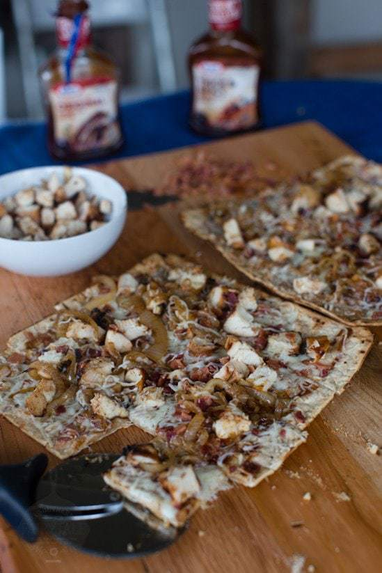 Grilled Barbecue Chicken Pizza with Caramelized Onions and Bacon