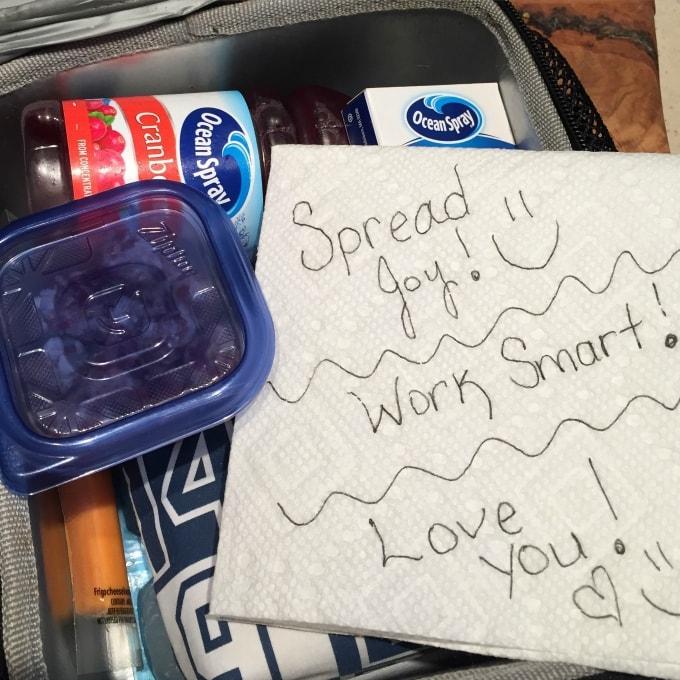 spread joy, work smart, lunchbox love note