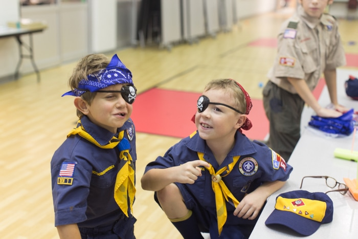 turning into pirates at the boy scout meeting