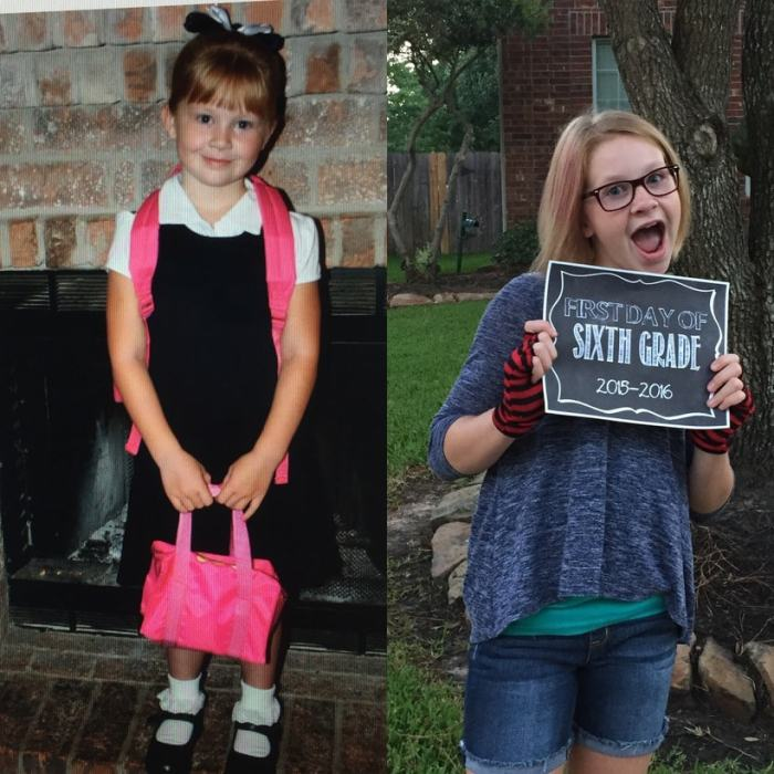 first day of kinder and first day of junior high