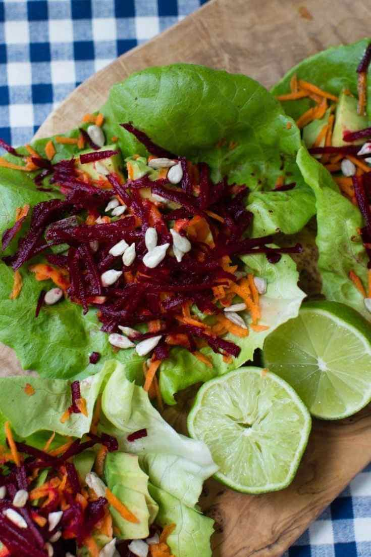 Avocado, Beet, and Carrot Salad Wraps