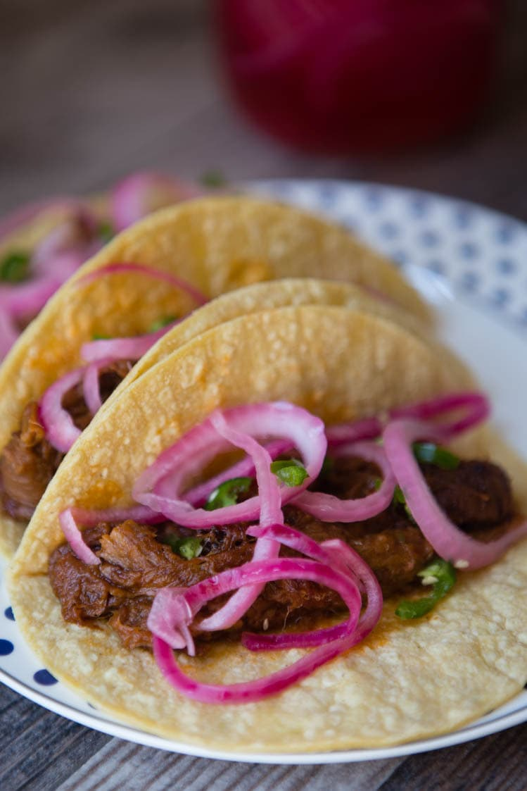 pickled red onions and jalapeno tacos
