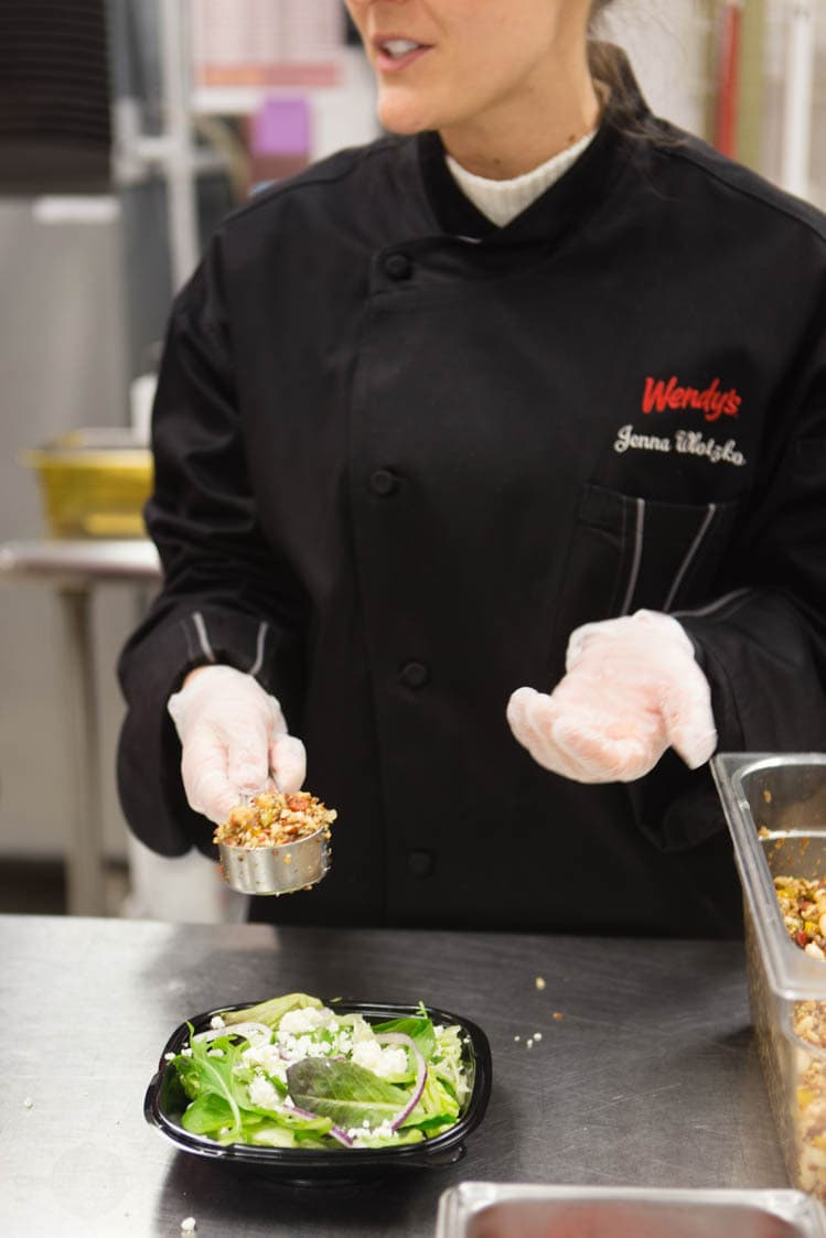 salad preparation in Wendy's test kitchen