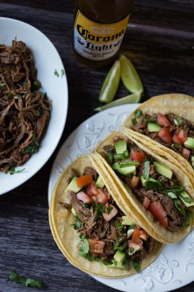Spicy Slow Cooker Tex-Mex Shredded Beef Tacos