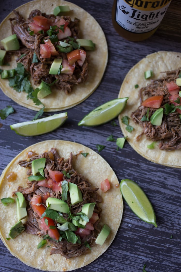 slow cooker shredded beef street tacos