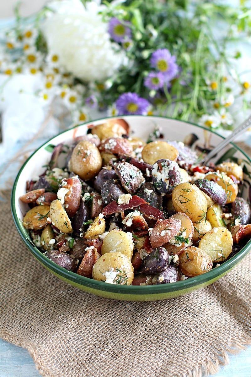 Red White and Blue Bacon Feta Potato Salad