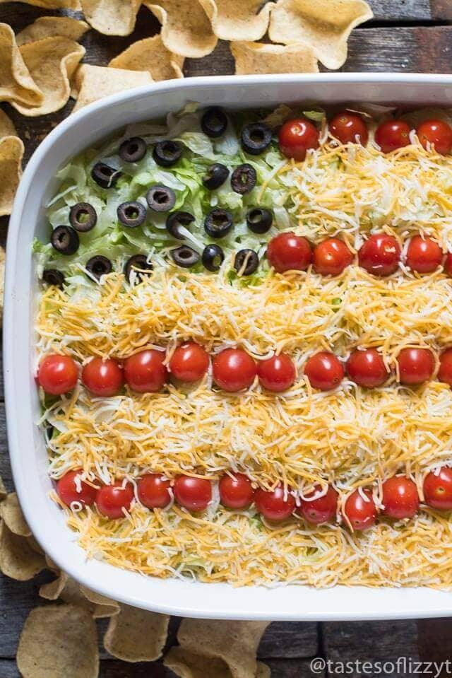 Easy Patriotic Layered Taco Dip