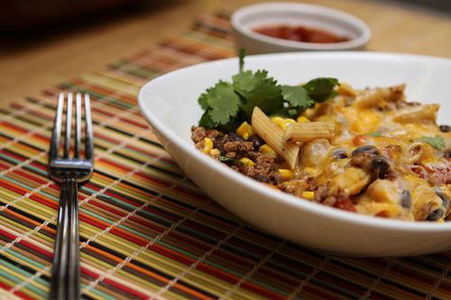 serving mexican pasta