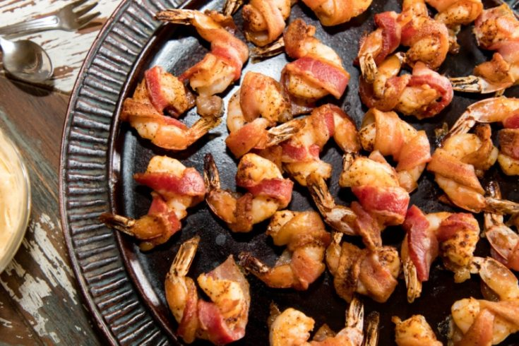 Bacon Wrapped Shrimp with Easy Remoulade Dipping Sauce