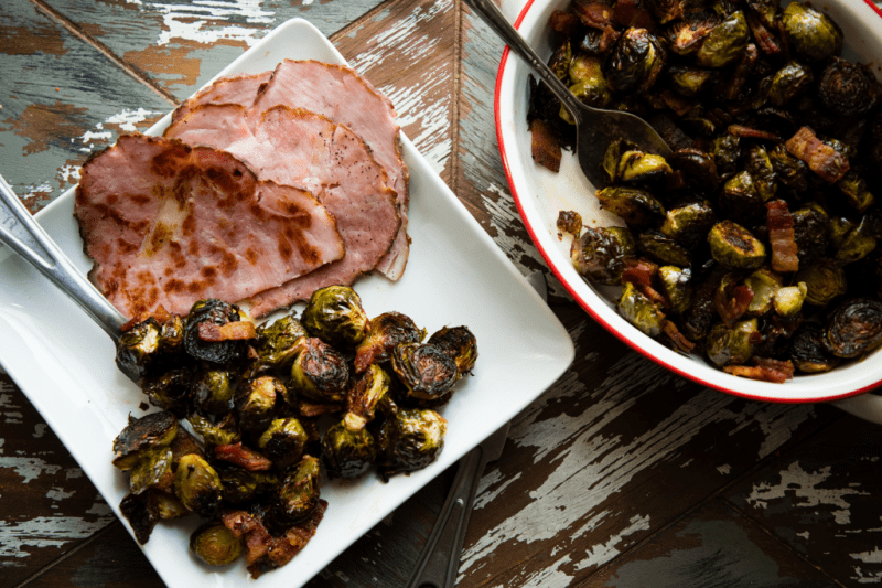 grilled ham with bacon and brussels sprouts